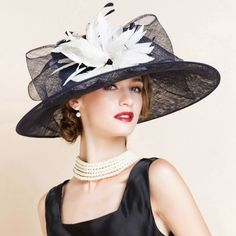 Ladies Women Black and White Church Dress Derby Hats for Women