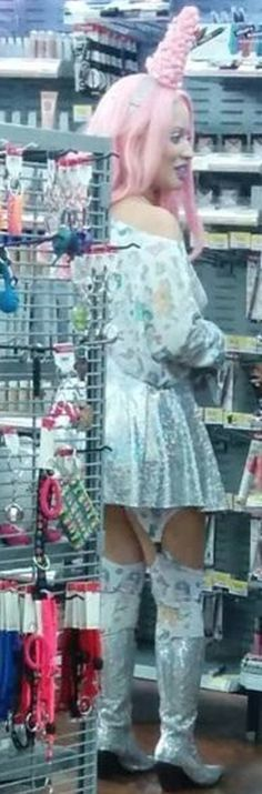 Pink Unicorns in a Sparkly Silver Skirt and Long Boots at Walmart - Fashion Fail - Funny Pictures at Walmart