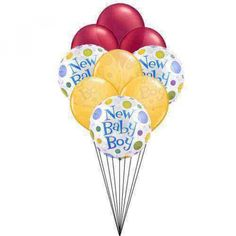 Welcome you new baby boy with this marvellous creation of balloons. With three different color collecton, white, orange and maroon, get yourself deep into happiness of the celebration. New Baby to USA