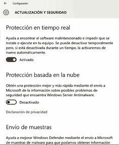 Configuración: Actualización y Seguridad
