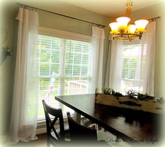 Ikea Lill curtains - fold the tops for a flowy look and use ring clips