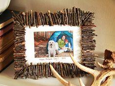 Porta Retrato Rústico com Gravetos