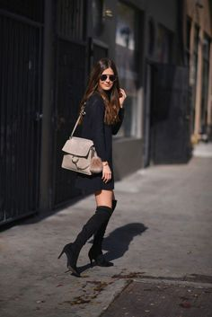 http://www.streetstylecity.blogspot.com Fashion inspired by the people in the street ootd look outfit miniskirt otk boots sexy