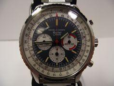 ギャレット Excel-O-Graph。43mmという大振りのケースに回転計算尺を供えたポップな色使いが特徴のギャレットの航空時計です。60年後半〜70年前半に作られました。ムーブメントはエクセルシオパークです。リセットボタンが非常に軽いのが特徴です。  60's Gallet navigation watch, Excel-O-Park.  Equips with high-end column wheel chronograph movement excelsiopark triple registers.  This movement characterized with quilte light touch reset button feeling.