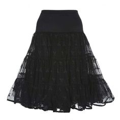 """'Cyd' 26"""""""" Black Bow Print Mesh Petticoat (1,105 DOP) ❤ liked on Polyvore featuring intimates and black"""