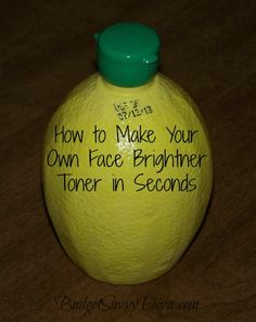DIY Face Toner  Mix together 1/2 cup of lemon juice, 1 cup of water, and 2 tablespoons of rubbing alcohol. Apply toner with a cotton pad or cotton ball and sweep over your entire face and neck.