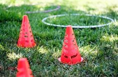 obstacle course requires changing directions, planning movement, and gross motor coordination