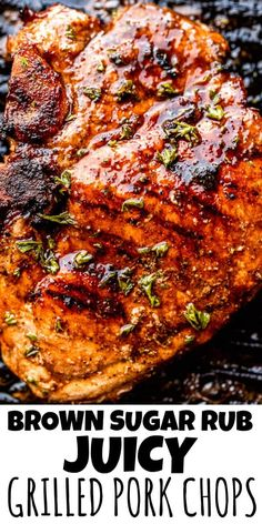 These Juicy Grilled Pork Chops are full of flavor and perfectly charred. They're soaked in a simple brown sugar rub to add a touch of sweetness. #grilledporkchops #howtogrillporkchops Best Grilled Pork Chops, Smoked Pork Chops, Grilled Pork Chop Marinade, Grill Pork Chops, Stuffed Pork Chops Grilled, Marinade For Pork Chops, Smoked Beef, Pork Chop Recipes, Grilling Recipes