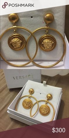 Authentic Versace earrings Brand-new never worn Versace earrings.  PRICE DROP from 300 to 200 *great Deal* Versace Jewelry Earrings