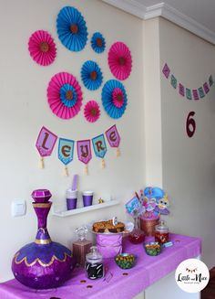 – Little and Nice 5th Birthday Party Ideas, Moana Birthday Party, Girl Birthday, Shimmer And Shine Decorations, Shimmer And Shine Cake, Kids Party Decorations, Party Centerpieces, Aladdin Party, Jasmine Party