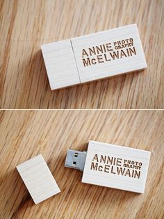 wooden usb drives laser engraved with photographer business logo