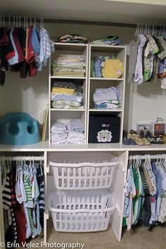 A hamper shelf, which will make for easier sorting of clothes. Plus, you can grab the baskets and go directly to the laundry room! Super convenient!