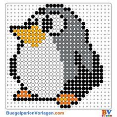 Pinguin Bügelperlen Vorlage. Auf buegelperlenvorlagen.com kannst du eine große Auswahl an Bügelperlen Vorlagen in PDF Format kostenlos herunterladen und ausdrucken.