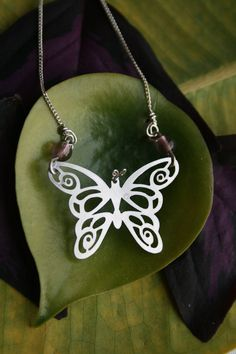 Butterfly necklace by HorakovaDesigns on Etsy, $25.00, stainless steel necklace, stainless steel jewelry