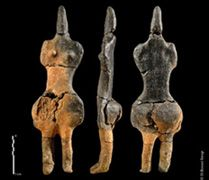 From the River Somme it has been called the Lady of Villers-Carbonnel. Believed to be over 6,000 years old, the 21 cm figurine dates from the local Chasséen  culture (4,300 - 3,600 BC) was made from local earth or clay.