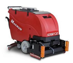 """The Factory Cat Magnum is available with a large battery package and 30-gallon tanks.  Available in multiple scrub paths, the Magnum can match whatever needs you may have.  Disk machines are protected by steel guards and large polyurethane rollers keep the unit from marking the walls.  Disk units are available in 26"""", 30"""", or 34"""" diameters.  Cylindrical machines also sweep while they scrub.  This eliminates the need to presweep the area and increases your productivity."""