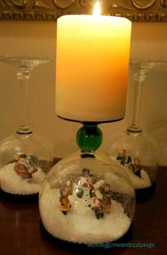 Christmas DIY, Christmas decoration, holiday decorating, wine glass turned upside down to make a snowglobe candle holder Winter Christmas, Christmas Holidays, Christmas Decorations, Christmas Ornaments, Snowman Ornaments, Christmas Projects, Holiday Crafts, Holiday Fun, Wine Glass Crafts