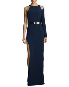 TASB3 Halston Heritage Belted One-Sleeve Gown, Navy