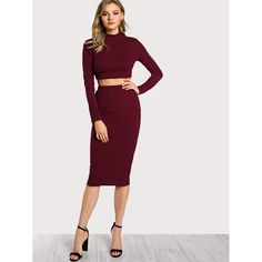 9f29a1179fabb Sheinside Burgundy 2 Piece Set Women Two Piece Outfits High Neck Crop Top  And Skirt Set 2018 Clothes Autumn Ladies Two piece Set
