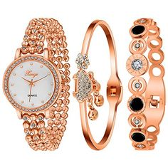 Xinge Women Rose Gold Tone MotherOfPearl Dial Bracelet Watch Set and 2 Bangles XG465R *** Want additional info? Click on the image.