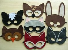 Felt DIY make-believe masks.  My kiddos would love these!