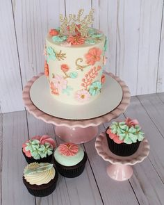 """Oh. That pattern! 😍 a """"wild one"""" themed smash cake and cupcakes for a first birthday! 🌸 I am absolutely in LOVE with this set. 1st Birthday Party For Girls, 1st Birthday Cakes, Girl Birthday Themes, Birthday Parties, Birthday Ideas, One Year Birthday Cake, 11th Birthday, Birthday Board, Smash Cake Girl"""