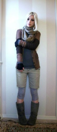 Like the Mid-thigh shorts with the leggings and boots aaand her scarff!