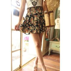 High Elasticity High-Waist Floral Print Retro Style Chiffon Women's Skirt, AS THE PICTURE, ONE SIZE in Skirts   DressLily.com