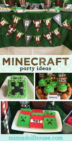 Minecraft Party: Let's build a birthday! Check out this fun and creative Minecraft Party styled by The Sweetest Things. Be sure to check out all of our Minecraft Party ideas and inspiration. Let's build a party with these awesome Minecraft party ideas. Minecraft Party, Boy Birthday Parties, Birthday Ideas, Pirate Birthday, 8th Birthday, Diy Party Crafts, Partys, Childrens Party, Fiestas