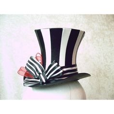 Black and White Striped Bijou Mini Top Hat ❤ liked on Polyvore