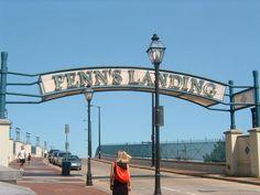 Penn's Landing Sign close to Delaware Ave