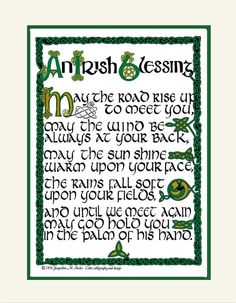 Irish Blessing  with ancient Celtic hand by jacquelineoriginals, $17.95