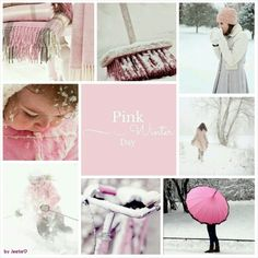 "Shall we have a play with this moodboard today ladies? ""Winter Pinks"" - snow, chunky knits & gloves, hot drinks and pretty scenes of white & pink <3"