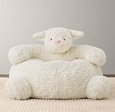 RH Baby & Child's Textured Plush Lamb Chair:The softest seat in the house is also one of the friendliest. Pillow Lounger, Restoration Hardware Baby, Nursery Accessories, Baby Kind, Nursery Inspiration, Girl Nursery, Baby Lamb Nursery, Sheep Nursery, Nursery Bedding