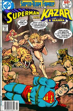 Super-Team Family: The Lost Issues!: Superman and Ka-Zar & Shanna  - once again, Supesy's Kryptonian rear is at the mercy of a purported-to-be inferior blond hero and his redheaded ladylove - what were the odds, eh?