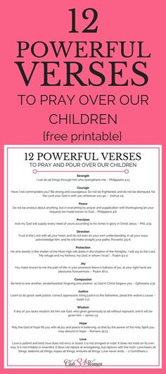 "Whether you're a ""seasoned"" parent or a brand-new one, what you pray will have a powerful impact on your kids - both now and for the rest of their lives. Here are 12 inspiring and encouraging verses to pray over your children!  via /Club31Women/"