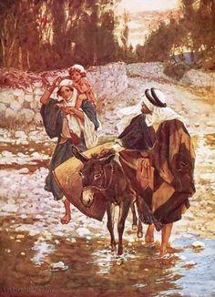 Jozef, Maria en Jezus vluchten naar Egypte.