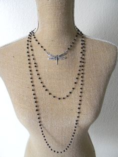 Mourning Necklace with Black Rosary Beads, Dragonfly, and Speared Heart Milagro  Approximately 18.5 inches (47 centimeters) with an additional extension of 2 inches (5 centimeters) #milagro #milagros #altars #altar #miracle #charm #charmed #blessed #divine #mexico #saints #mexican #custom #blessing #art #handmade #sacred #faith #god #style #amulet #talisman #angel #protection #prayer #chic #fashion #jewelry #silver #necklace  #mourning  Segundo Milagro  It's Yours:  gringagordon@gmail.com