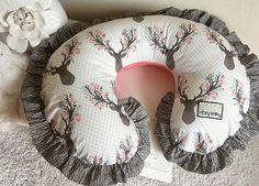Girly Stag Nursing Pillow Cover Deer Head Boppy Cover Floral