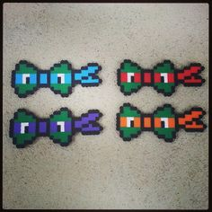 TMNT bows perler beads by captainamberica