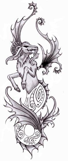 Mermaid Capricorn Tattoo Design