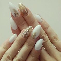 Almond Shaped White and Gold Nails. via http://forcreativejuice.com/beautiful-almond-nail-designs/