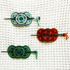 Beaded Hair Barrettes, Red Blue and Green