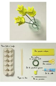 1 boite d'oeuf + 1 pic à brochette = des fleurs en carton Egg Carton Art, Egg Carton Crafts, Egg Cartons, Paper Plate Crafts For Kids, Activities For Girls, Quilling Patterns, Spring Crafts, Diy Projects To Try, Paper Flowers