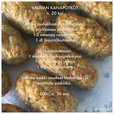 Vauvan kanapötköt Baby Food Recipes, Wine Recipes, Cooking Recipes, Toddler Meals, Kids Meals, Curry D'aubergine, Finnish Recipes, Yams, Finger Foods