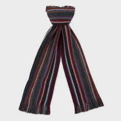 £60.00  Paul Smith Men's Grey Reversible Stripe Wool Scarf. Striped Scarves, Mature Men, Wool Scarf, Neck Warmer, Paul Smith, Bandana, Men's Scarves, Stylish, Grey