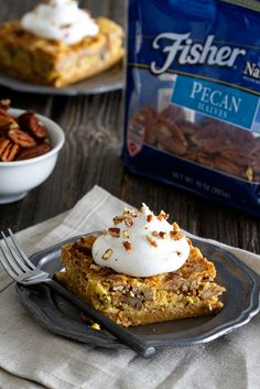 Pumpkin Crunch Cake is loaded with spices and topped with a dollop if whipped cream. It will quickly become your new favorite dessert.
