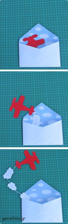uitnodiging: vliegtuig slinger : this would be fun to send to a child - you could do variations ie kites, flowers, etc etc etc