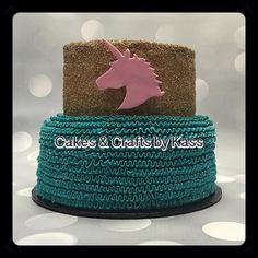 Gold Glitter Buttercream Teal Ruffles with Pink Unicorn  - Cake by Cakes & Crafts by Kass