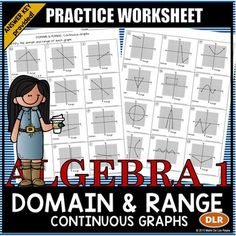 Domain and Range: Continuous Graphs Practice Worksheet(1 example and 23 problems)Students will use set notation or interval notation to identify the domain and range of various graphs.  Both formats with answer keys are included.  This resource is designed for independent practice (such as classwork, homework and/or extra credit).More related resources from my store:Domain and Range of Continuous GraphsEvaluating Functions Coloring ActivityMultiple Representations Foldable for Interactive…